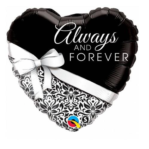 """Coração Estampa Always and forever 18"""" UNIDADE (Qualatex)"""