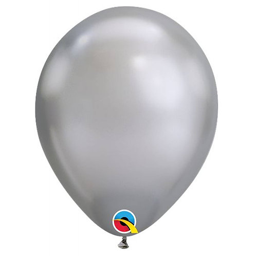 """Balão Latex Chrome Prata 11"""" UNIDADE (Qualatex)"""