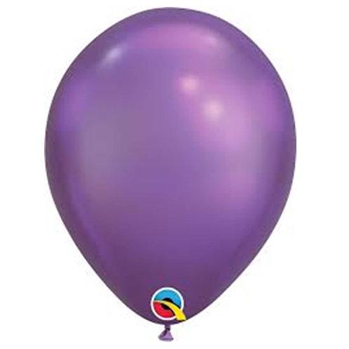 """Balão Latex Chrome Roxo 11"""" UNIDADE (Qualatex)"""