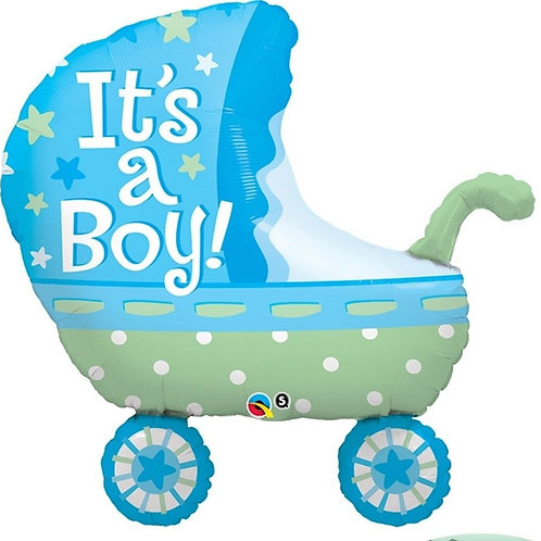 """Carrinho de bebê azul menino 35"""" UNIDADE (Qualatex)"""