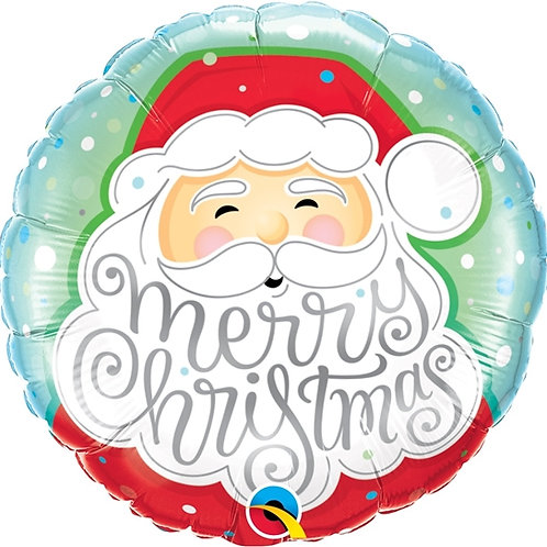 "Redondo Estampa Merry christmas rosto papai noel 18"" UNIDADE (Qualatex)"