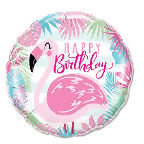 """Redondo Estampa Happy birthday flamingo 18"""" UNIDADE (Qualatex)"""