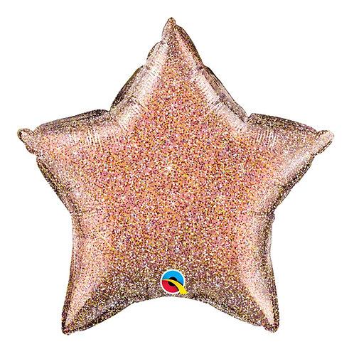 """Estrela Holográfica Ouro rose 18"""" UNIDADE (Qualatex)"""