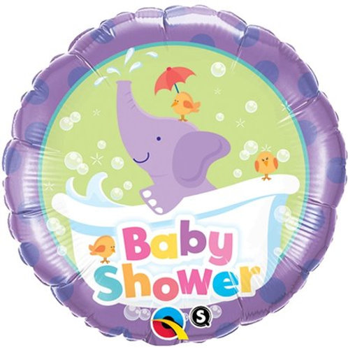 "Redondo Estampa Baby shower elefante 18"" UNIDADE (Qualatex)"