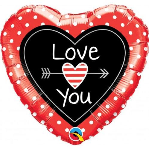 """Coração Estampa Love you flecha 18"""" UNIDADE (Qualatex)"""