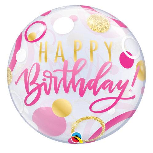 "Bubble Simples Birthday Rosa Pontos Ouro 22"" UNIDADE (Qualatex)"