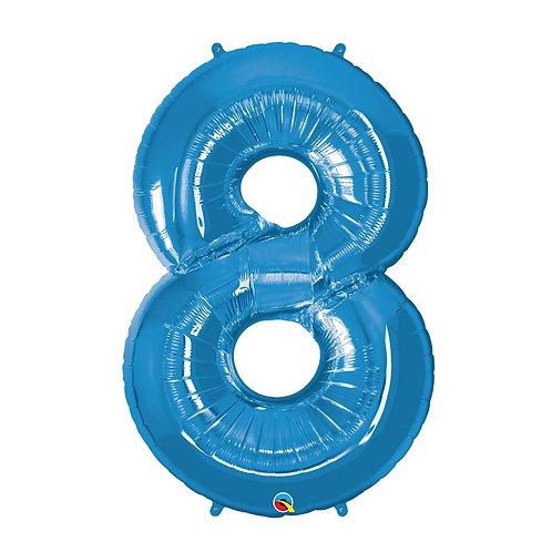 """Número 8 Azul 26"""" 66cm altura UNIDADE"""