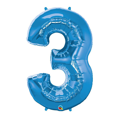 """Número 3 Azul 26"""" 66cm altura UNIDADE"""