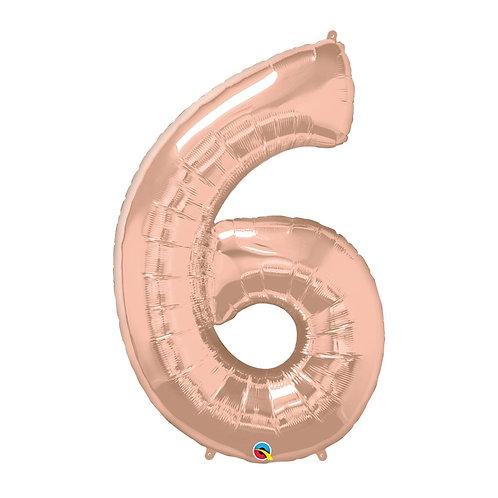 """Número 6 Rose gold 26"""" 66cm altura UNIDADE"""