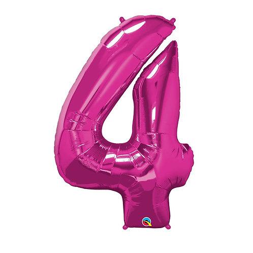 """Número 4 Pink 26"""" 66cm altura UNIDADE"""