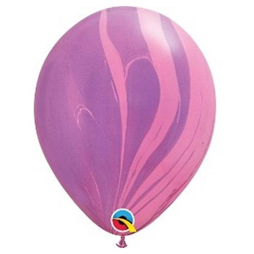 """Balão Latex Ágate Rosa e Violeta 11"""" UNIDADE (Qualatex)"""