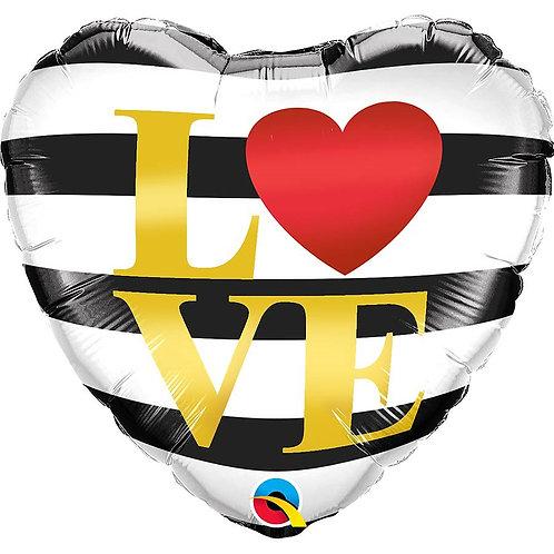 """Coração Estampa Love Listras 18"""" UNIDADE (Qualatex)"""