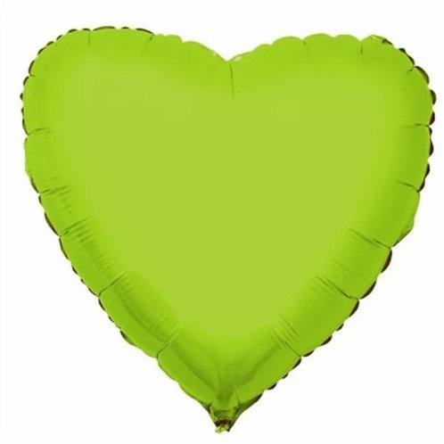 """Coração Liso Verde limão 18"""" UNIDADE (Megatoon)"""