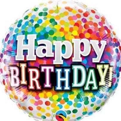 """Redondo Estampa Happy birthday confetes 18"""" UNIDADE (Qualatex)"""
