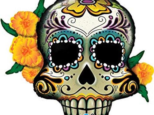 """Caveira mexicana Dia dos mortos 38"""" UNIDADE (Qualatex)"""