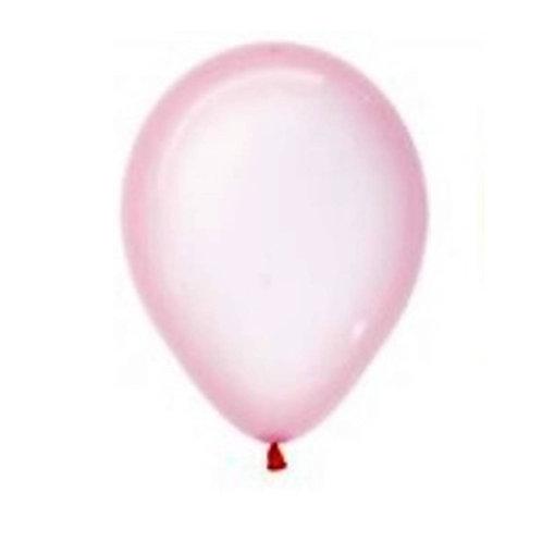 """Balão Latex Transparente Rosa Baby 12"""" UNIDADE (Sempertex)"""
