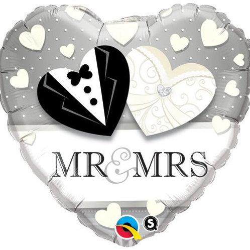 """Coração Estampa Noivos Mr & Mrs 18"""" UNIDADE (Qualatex)"""