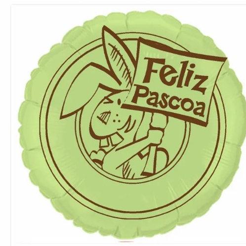 """Redondo Estampa Feliz páscoa verde baby 20"""" UNIDADE (Megatoon)"""