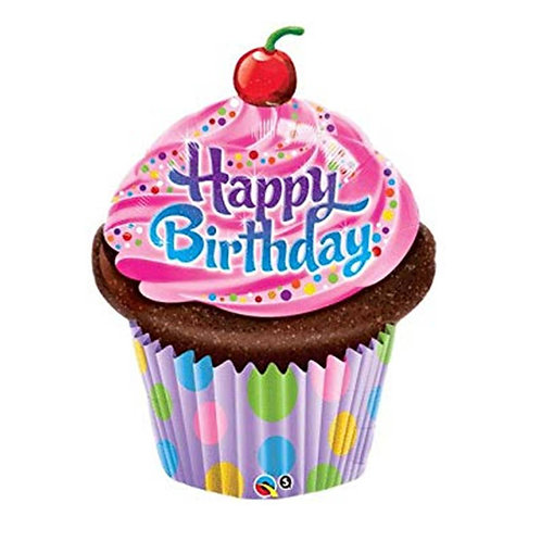 "Cupcake Happy birthday rosa pontos 35"" UNIDADE (Qualatex)"