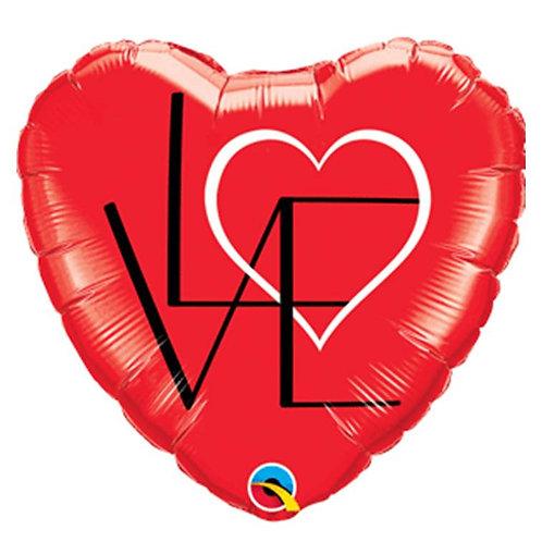 """Coração Estampa Love 18"""" UNIDADE (Qualatex)"""