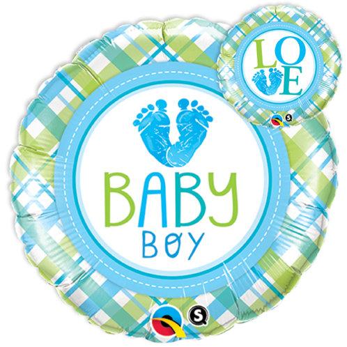 """Redondo Estampa Baby boy pezinhos 18"""" UNIDADE (Qualatex)"""