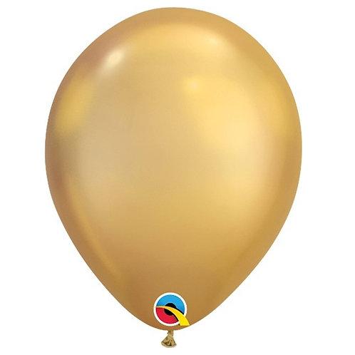 """Balão Latex Chrome Ouro 11"""" UNIDADE (Qualatex)"""