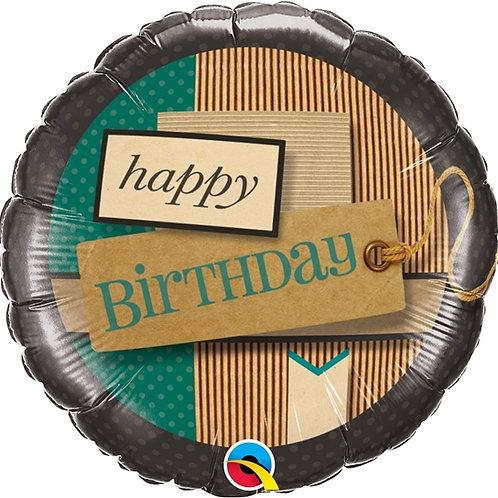 """Redondo Estampa Happy birthday faixas de papel 18"""" UNIDADE (Qualatex)"""