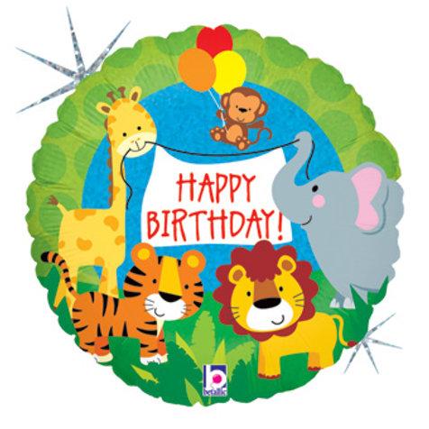 "Redondo Estampa Happy birthday safari 20"" UNIDADE (Meg"