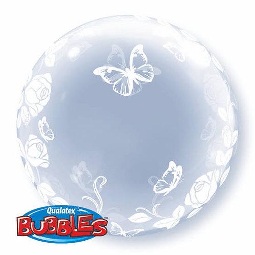 """Bubble liso Rosas e Borboletas 24"""" UNIDADE (Qualatex)"""