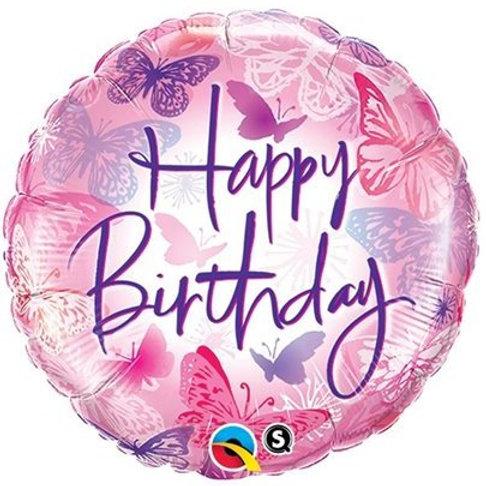 """Redondo Estampa Happy birthday borboletas 18"""" UNIDADE (Qualatex)"""