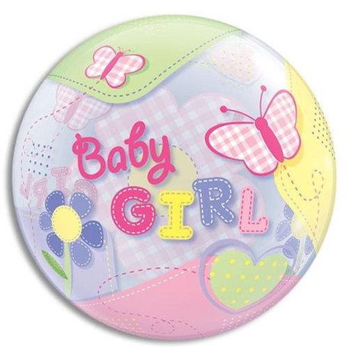 """Bubble Simples Baby Girl Borboletas 22"""" UNIDADE (Qualatex)"""