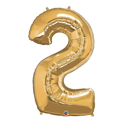 """Número 2 Ouro 26"""" 66cm altura UNIDADE"""