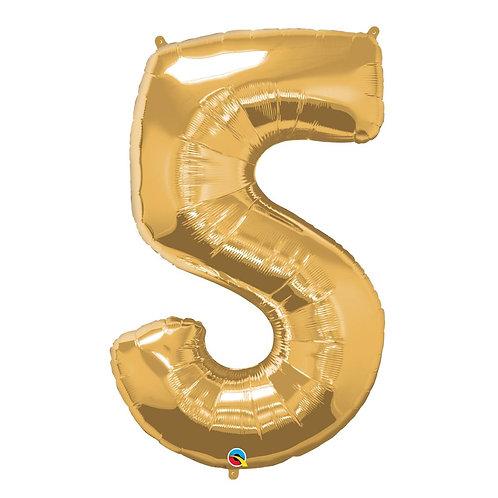 """Número 5 Ouro 26"""" 66cm altura UNIDADE"""