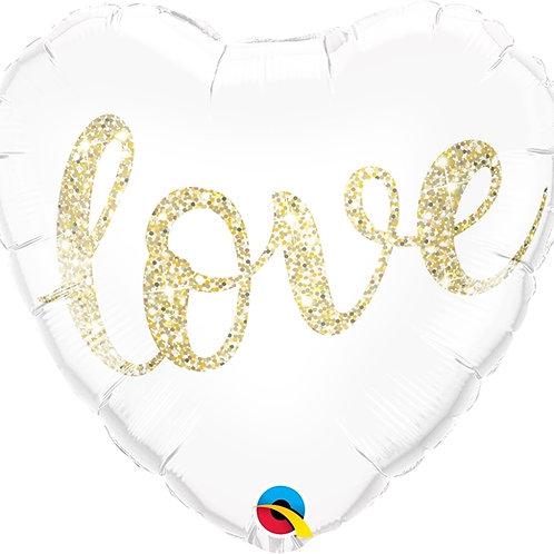 """Coração Estampa Love glitter 18"""" UNIDADE (Qualatex)"""