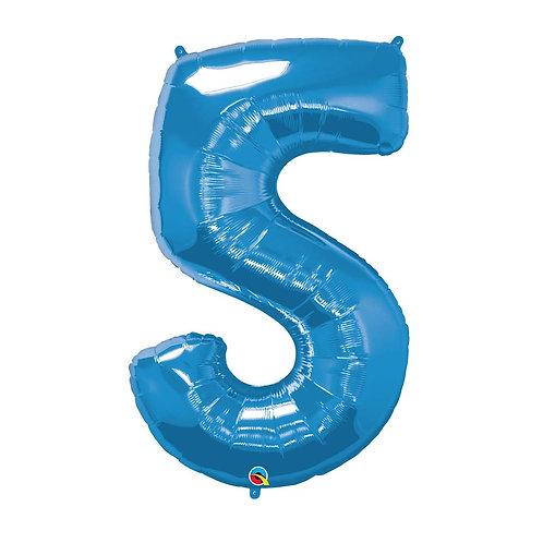 """Número 5 Azul 26"""" 66cm altura UNIDADE"""