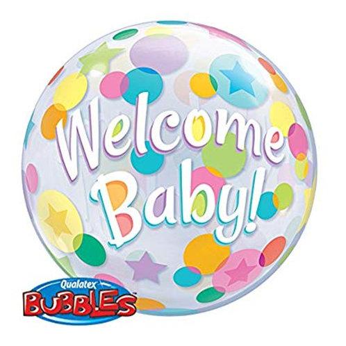 "Bubble Simples Welcome Baby Pontos Coloridos 22"" UNIDADE (Qualatex)"