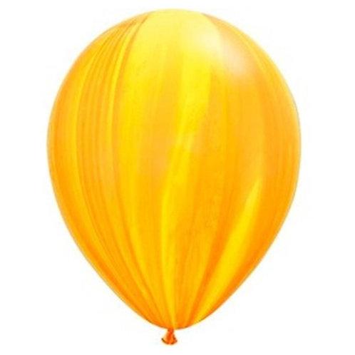 """Balão Latex Ágate Amarelo e Laranja 11"""" UNIDADE (Qualatex)"""