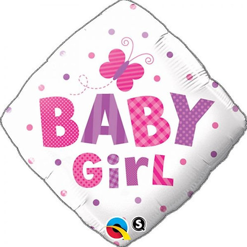 """Diamante Estampa Baby girl borboletas 18"""" UNIDADE (Qualatex)"""