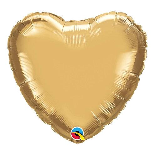 """Coração Chrome Ouro 18"""" UNIDADE (Qualatex)"""