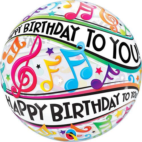"""Bubble Simples Birthday Notas Musicais 22"""" UNIDADE ("""