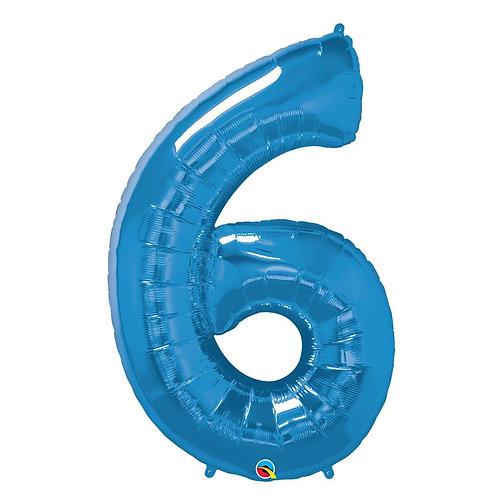"""Número 6 Azul 26"""" 66cm altura UNIDADE"""