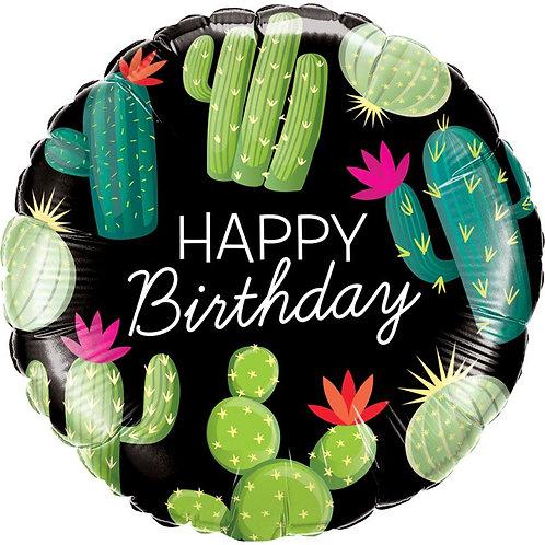 """Redondo Estampa Happy birthday cactos 18"""" UNIDADE (Qualatex)"""