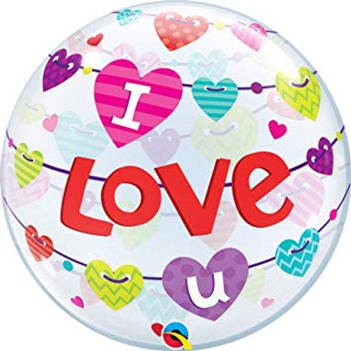 """Bubble Simples Love You Bandeiras 22"""" UNIDADE ("""