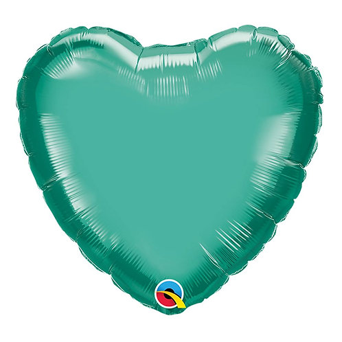 """Coração Chrome Verde 18"""" UNIDADE (Qualatex)"""