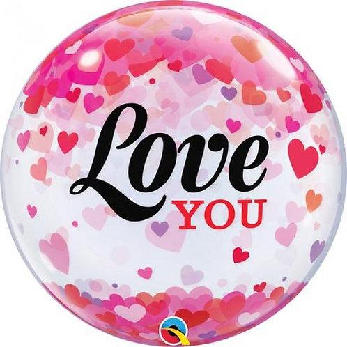 """Bubble Simples Love You Chuva de Corações 22"""" UNIDADE ("""