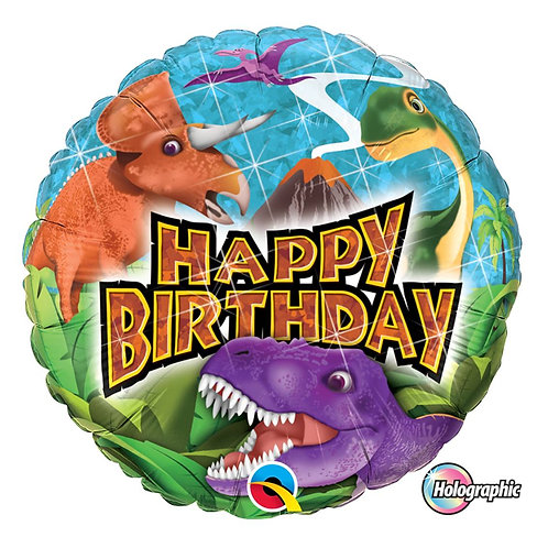 "Redondo Estampa Happy birthday dinossauros 18"" UNIDADE (Qualatex)"