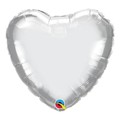 """Coração Chrome Prata 18"""" UNIDADE (Qualatex)"""