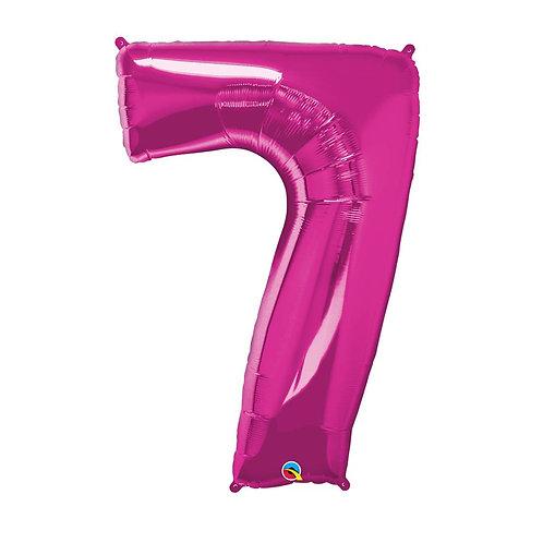 """Número 7 Pink 26"""" 66cm altura UNIDADE"""