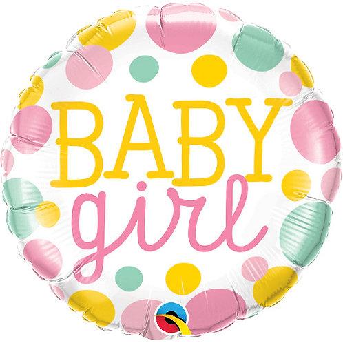 "Redondo Estampa Baby girl pontos 18"" UNIDADE (Qualatex)"