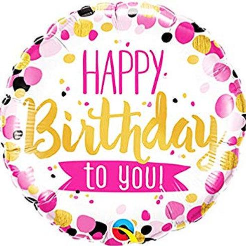 """Redondo Estampa Happy birthday to you confetes 18"""" UNIDADE (Qualatex)"""